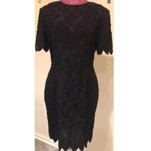 Stenay Dress Size 12 Black Beaded Floral Formal